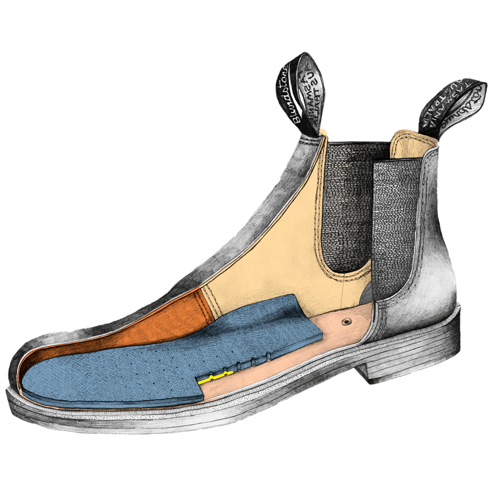 Drawing of a Blundstone Dress series ankle boot
