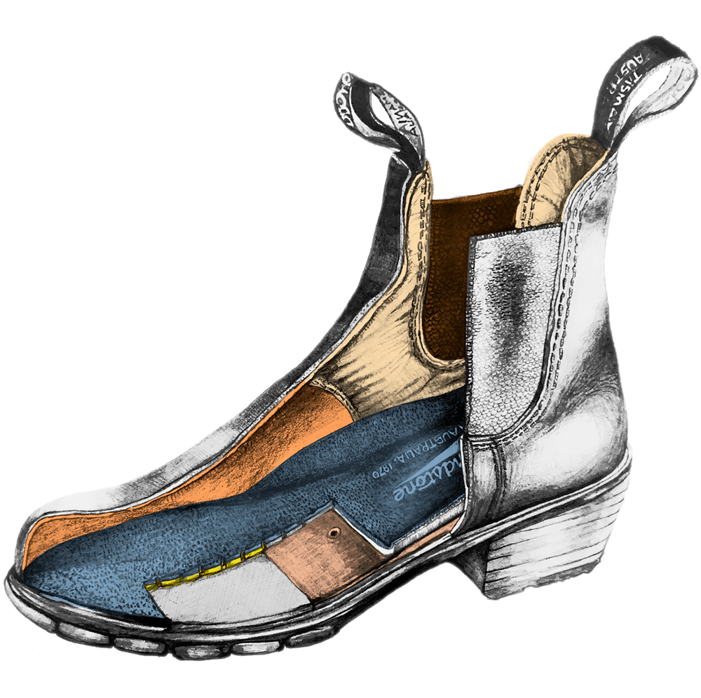 Drawing of a Blundstone Women's series heeled boot